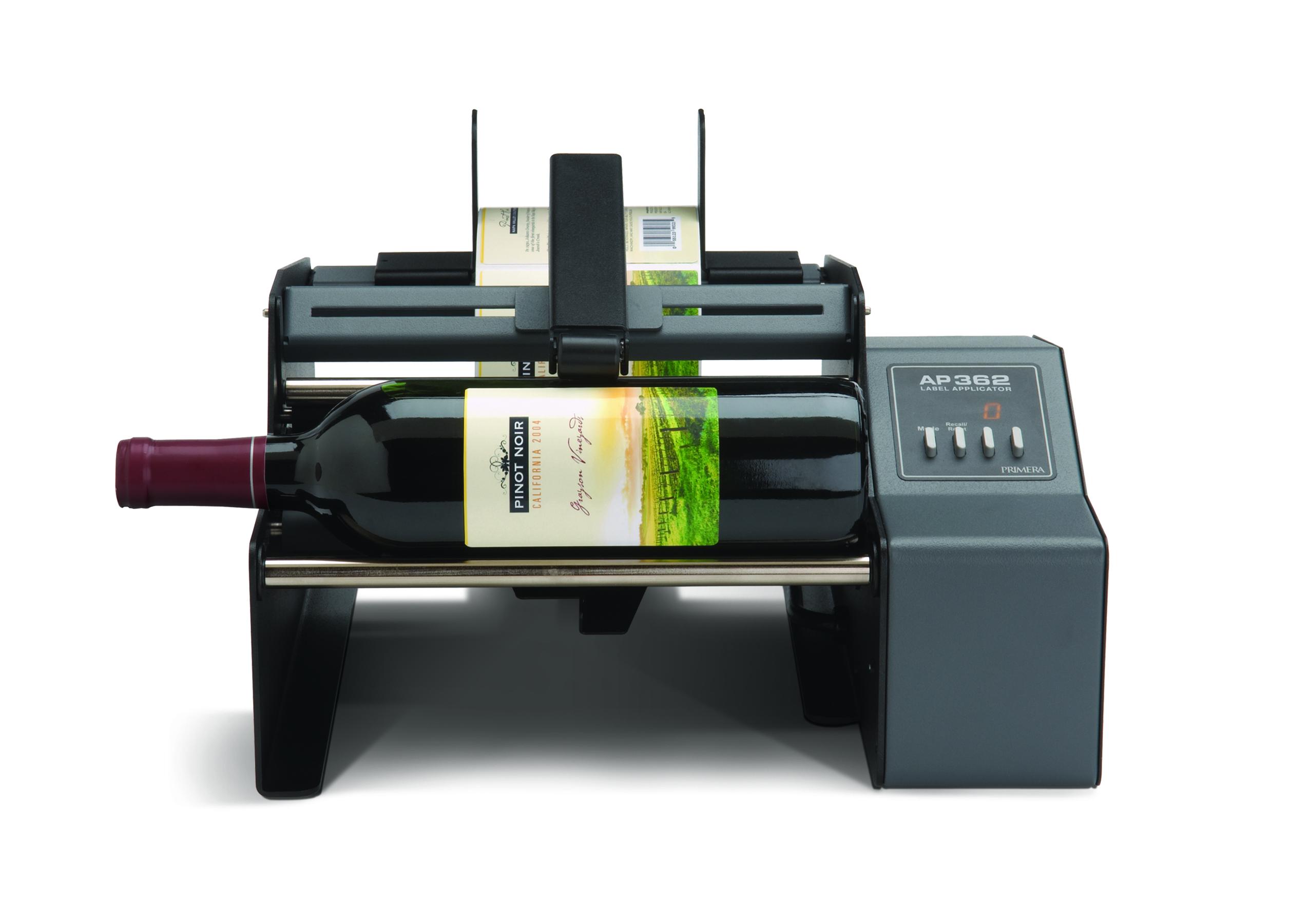 Primera AP362 label appliator applying wine labels